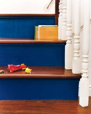 Would you try painting the risers of your stairs? It's an easy way to add a pop of color!Decor Ideas, Stairs Risers, Blue, Painting Stairs, Leftover Painting, Interiors Design, Basements Stairs, Vibrant Colors, Painted Stairs