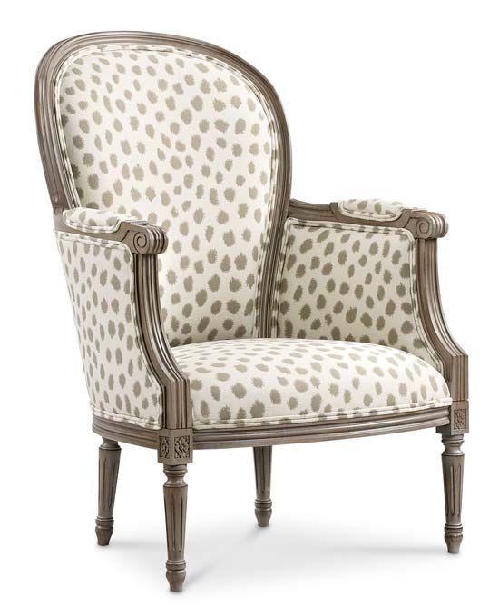 The Germaine chair. I like to use contemporary fabrics on this elegant French frame. The fabric is Poka from our Sunbrella Collection.
