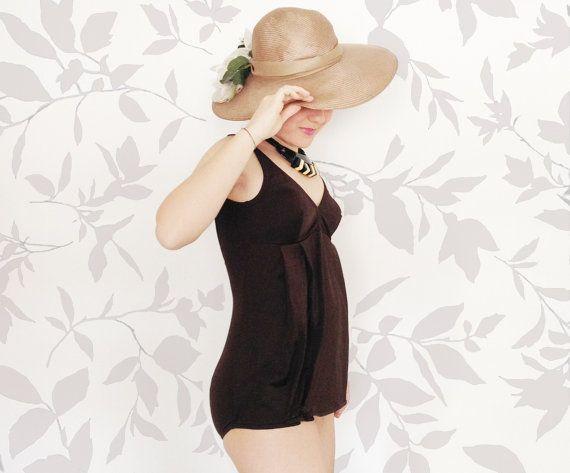 Costume da bagno intero originale Vintage anni 70 marrone/ costume da donna Nuovo taglia 44 / costume premaman Chicco