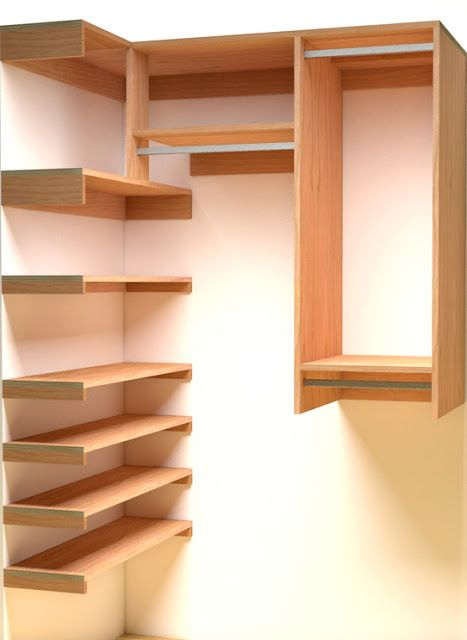 Reach-in closet with side shelving.