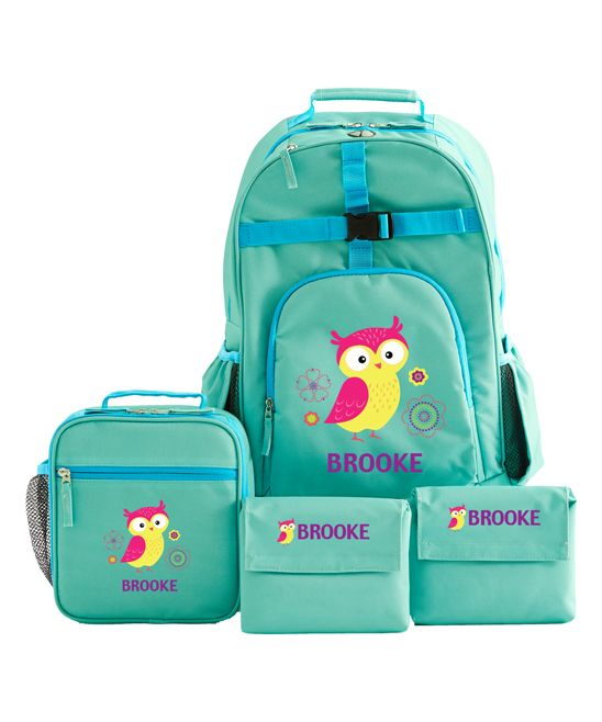 Aqua Owl Four-Piece Large Personalized Backpack Set