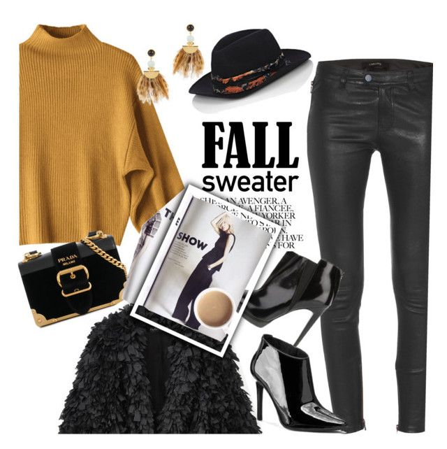 """""""Marigold Fall Sweater"""" by clotheshawg ❤ liked on Polyvore featuring J Brand, Prada, Lizzie Fortunato and Zadig & Voltaire"""