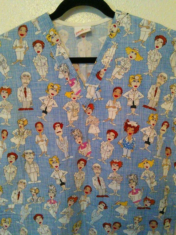 Peaches Women's Uniform Scrub Doctors and Nurses Cartoon Figures #Peaches