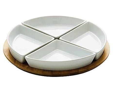 Cocinas y mesas cool: Set de 4 cuencos en porcelana sobre bandeja de bambú Elfa