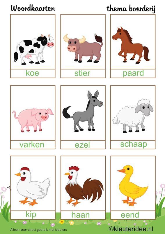 Woordkaarten voor kleuters , thema boerderij, kleuteridee , Preschool farm theme.