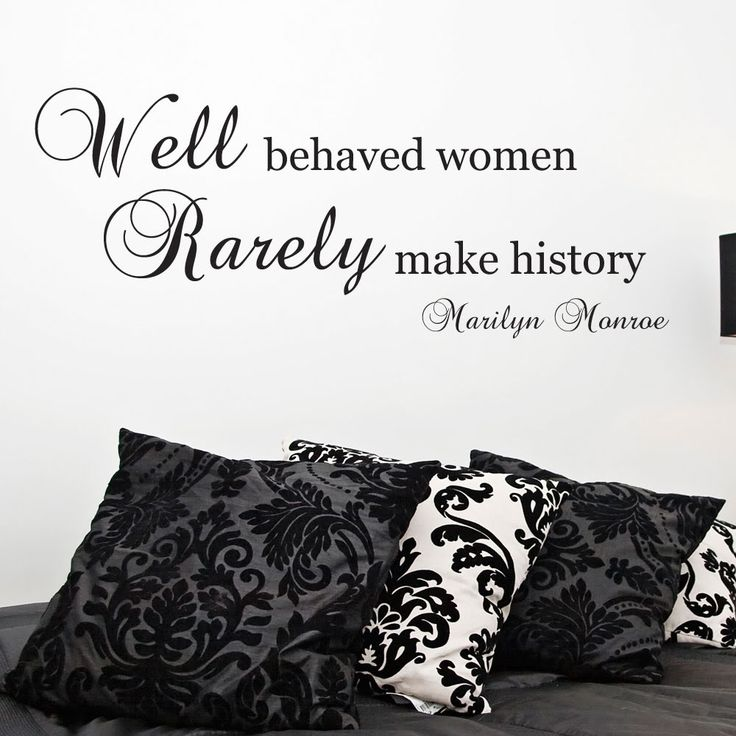 Marilyn Monroe Quote Wall Sticker   Well Behaved Women   Art Decal Decor Mm8