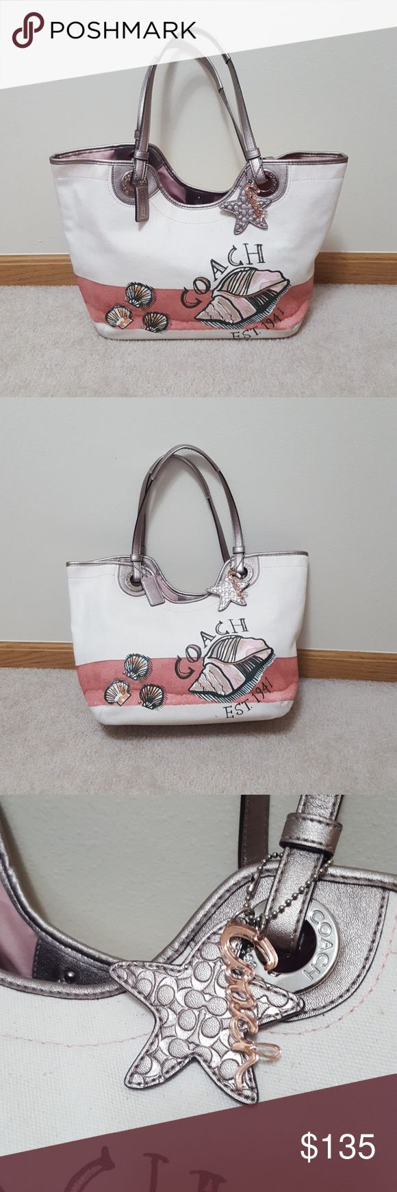 Coach Canvas Off White Beach Shell Nautical Purse Coach brand only carried a few times. The satchel style bag has decorative shells coloring at The bottom that makes the pink to the white part appears as sand (it's not dirt, it was made that way ☺). It has double leather straps (with 10 inch drop), dogleash leather straps closure, plenty of pockets and charm keychain. This has been cleaned and stored in a smoke free home. Style # 19273. I do offer bundles deals as well. Thank you for…