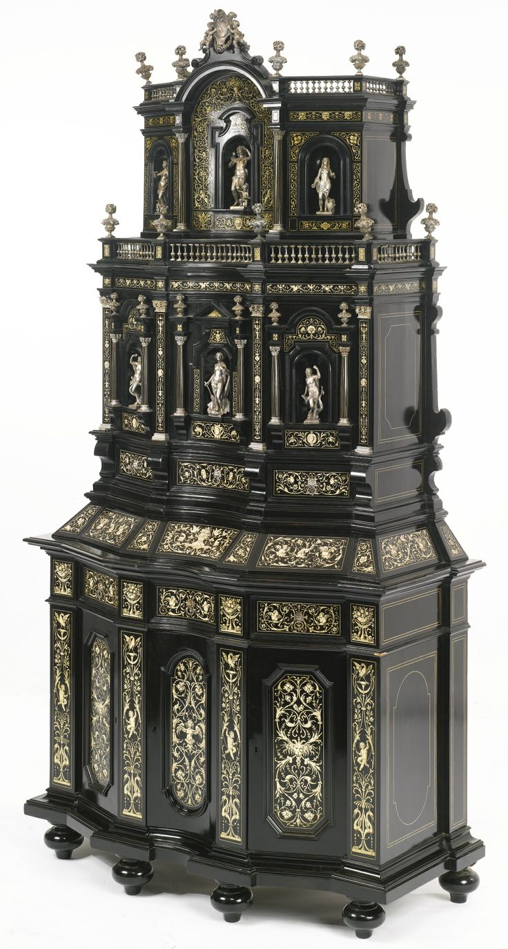ATTRIBUTED TO FERNANDINO POGLIANI A VERY FINELY ENGRAVED IVORY INLAY AND  SILVERED BRONZE MOUNTED EBONY Part 83