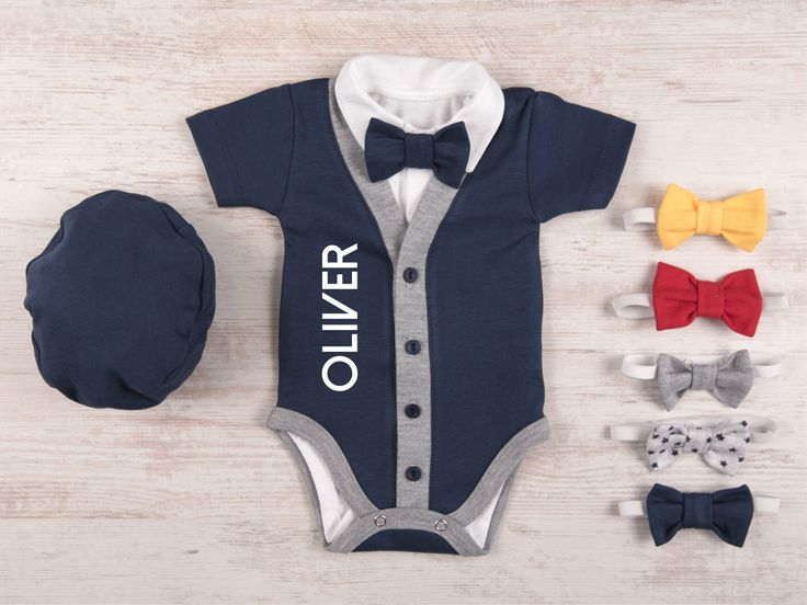 Baby Boy Coming Home Outfit, Personalized Short Sleeve Navy Cardigan, Bodysuit, Hat & Bow Tie Set, Baby Boy Clothes, Baby Boy Gift by BabyBodysuits on Etsy https://www.etsy.com/listing/534531269/baby-boy-coming-home-outfit-personalized
