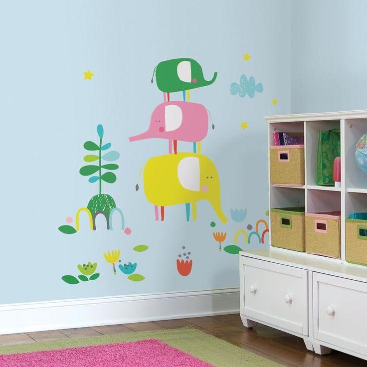 Παιδικό αυτοκόλλητο τοίχου Ελεφαντάκια Giant