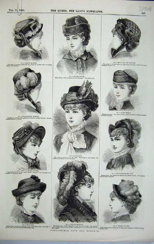 1880 Hats for Women | ... Antique Print of Womens Fashion Hats 1880 Bonnet Toque Stockings Muff