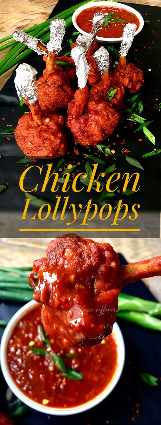 Chicken Lollypops - an Indo Chinese dish which is made from chicken wings which are cut into two, and then a circular cut is given at the edge of the bone so that the meat gets separated from the bone, which is then pushed down with hands to make a lollipop like shape : spiceaffairs