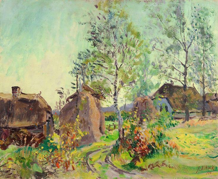 Jan Altink - Boerderij met hooiberg, olieverf op doek 49,8 x 59,8 cm, gesigneerd r.o. en gedateerd '40