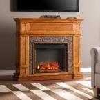 Auburn 45.5 in. W Faux Stone Media Fireplace in Brown Sienna