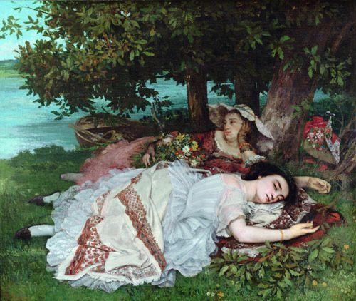 Νεαρές κυρίες στις όχθες του Σηκουάνα (1856-57)  Ο πίνακας ήταν αφορμή να συλληφθεί για πρώτη φορά