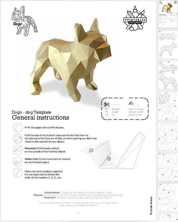 Beautiful French Bulldog folding kit. All you need to create this simple gorgeous object is simple 160 grams A4 paper and a printer. For a bigger model just scale the pages to A3 paper NEW and improved instructions! March 2016 3D view : http://www.thingiverse.com/thing:852992 This folding kit is made from 56 parts. The tabs are designed in a way that they are almost invisible if you want to turn your DOGO into a lampshade. Be sure to use LED lights. Printed 100% A4 height ±40 cm length ±4...