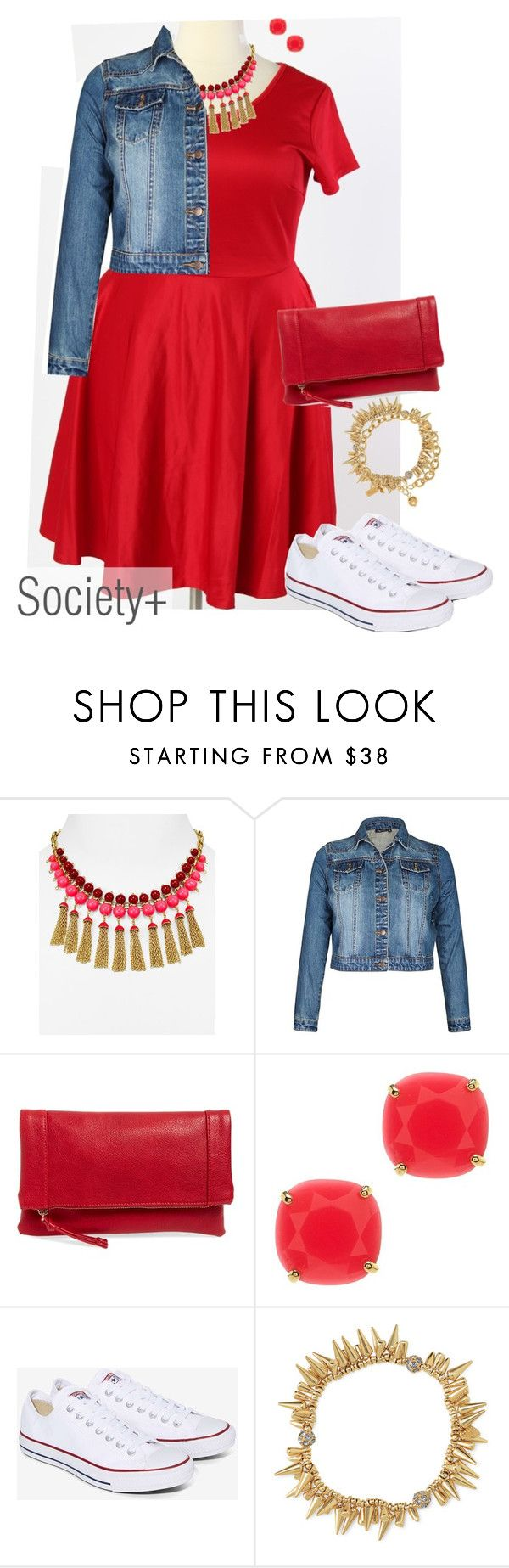 """""""Plus Size Red Skater Dress - Society+"""" by iamsocietyplus on Polyvore featuring Kate Spade, Sole Society, Converse, Stella & Dot, plussize, plussizefashion, societyplus and iamsocietyplus"""