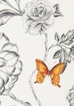 48,90€ Prix par rouleau (par m2 9,35€), Papier peint floral, Matériel de base: Papier peint intissé, Surface: Lisse, Aspect: Mat, Design: Vrilles de fleur, Papillons, Couleur de base: Blanc crème, Couleur du motif: Bleu, Jaune, Orange rouge, Gris noir, Turquoise, Caractéristiques: Bonne résistance à la lumière, Difficilement inflammable, Arrachable à sec, Encollage du mur, Lessivable
