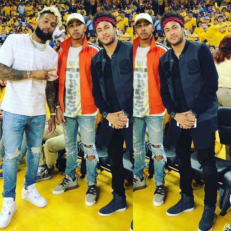 Odell Beckham Jr, Lewis Hamilton & Neymar during NBA Finals - Game 2