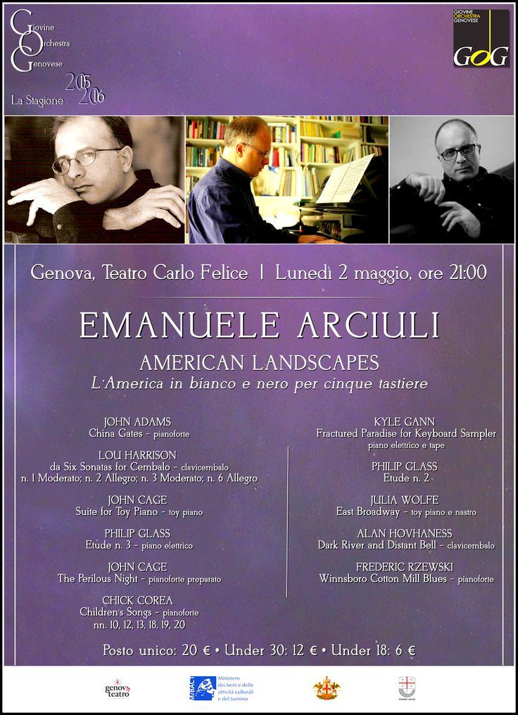 Emanuele Arciuli  American Landscapes: L'America in bianco e nero per 5 tastiere   Lunedì 2 maggio 2016, Teatro Carlo Felice, #Genova #gog1516