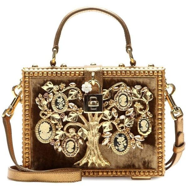 Dolce & Gabbana Dolce Embellished Shoulder Bag found on Polyvore featuring bags, handbags, shoulder bags, purses, bolsas, clutches, gold, handbags shoulder bags, brown purse and handbags & purses