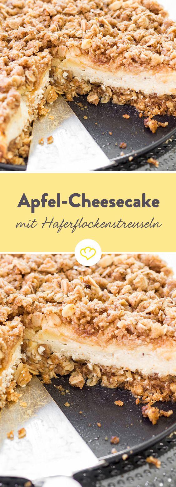Heute musst du dich nicht entscheiden, heute gibt es einen Apfel-Streusel-Cheesecake par excellence. Äpfel und Frischkäse in der Füllung. Und Streuseln on top – dank Haferflocken besonders crunchy.