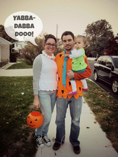 casual flintstones family halloween costume - thrift store t-shirts - diy peplum top - fred - wilma - pebbles