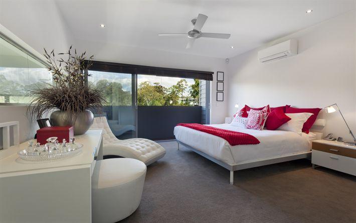 Download wallpapers Modern design for a bedroom, white light bedroom, modern interior design
