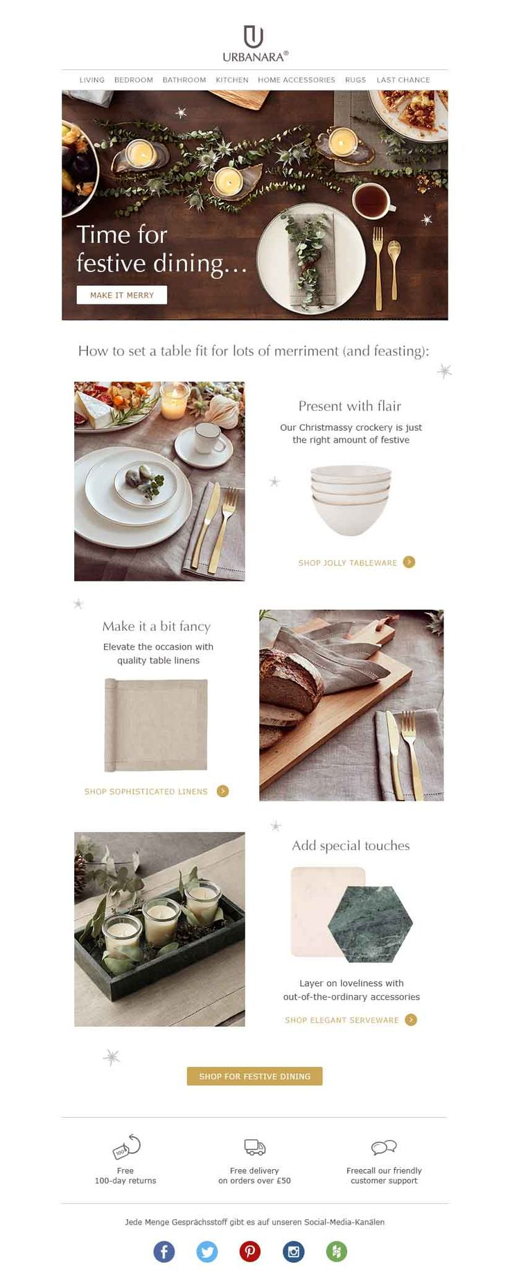 URBANARA newsletter template for Christmas festive dining and table setting.  Follows us for tips and inspiration for your home decor, interior or fashion newsletters.