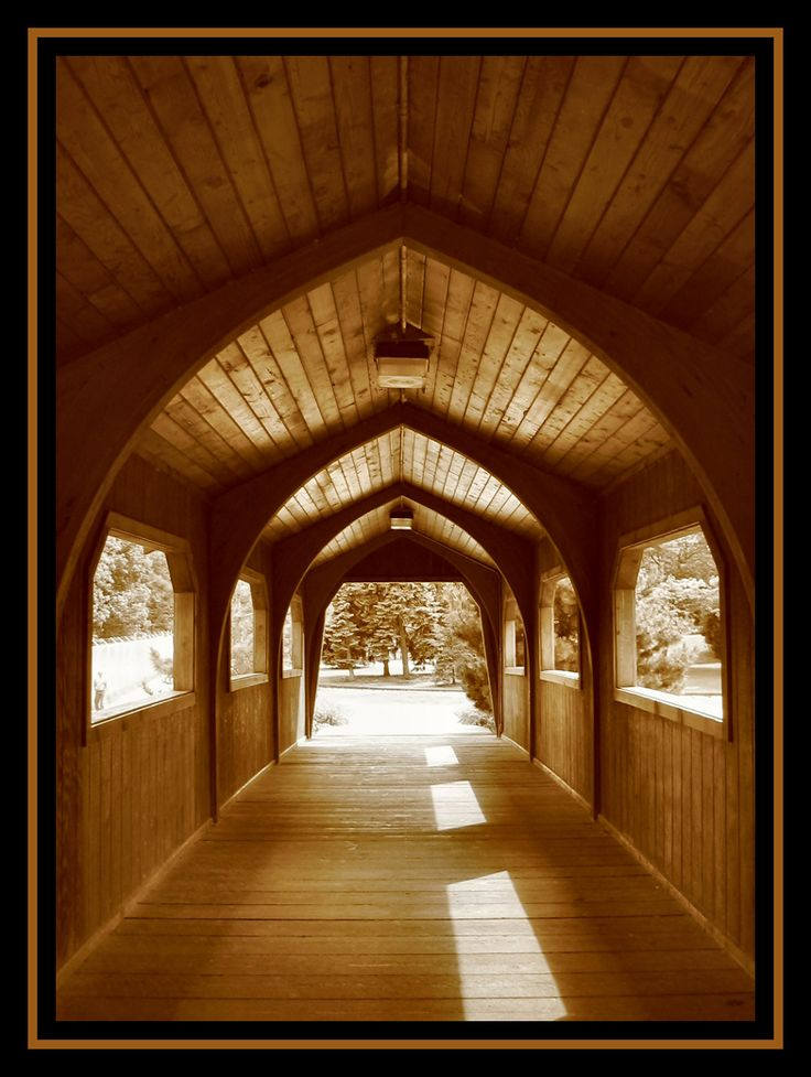within a covered bridge