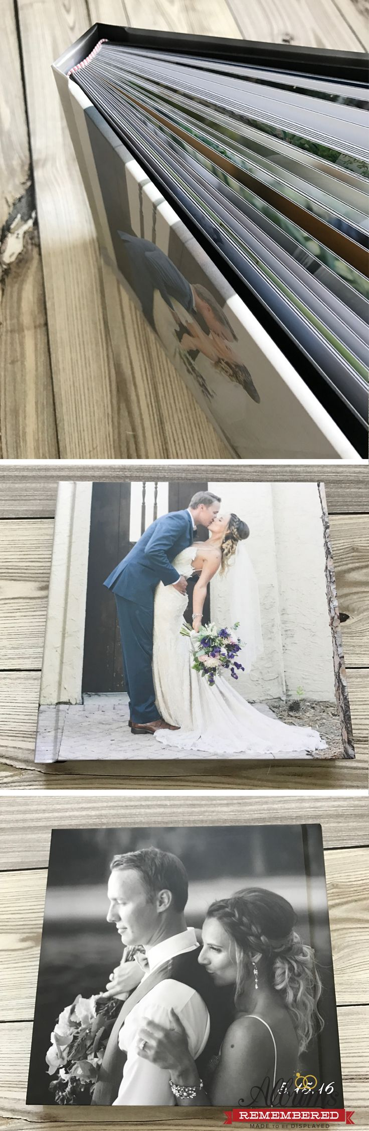 Photo wrap cover wedding album with free design service and unlimited revisions. Visit our website www.albumsremembered.com for all the promos!