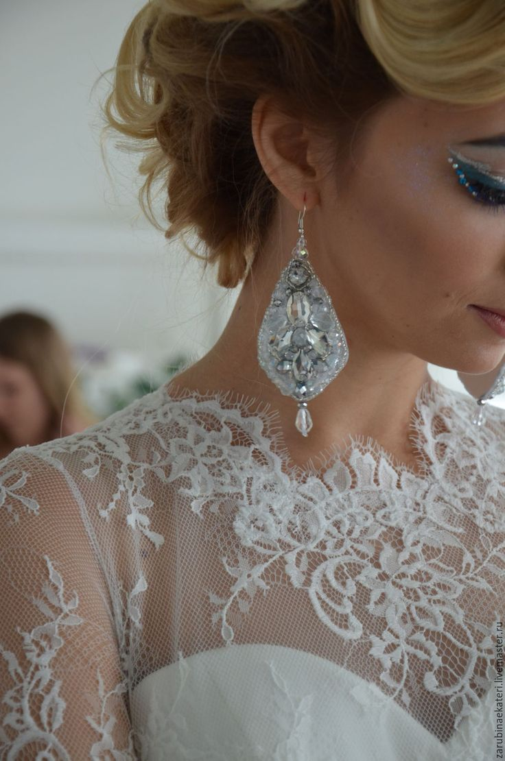 Купить Серьги. Свадебные серьги.Серьги для невест.Вечерние серьги. - серебряный, серьги