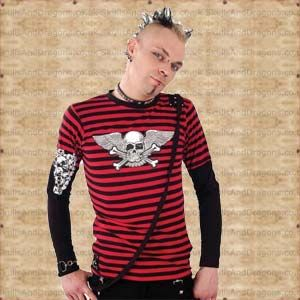Black sleeves give this black and red striped top that cool layered look. Decorating one sleeve is a crazy white skull cluster, on the front is a winged skull and crossbones print. A diagonal bondage strap gives your look a push over the edge on this Striped Skull Top in the Skulls and Dragons clothing range.    Made from cotton    Ref : SDSH1213806   Price : 34.99 GBP