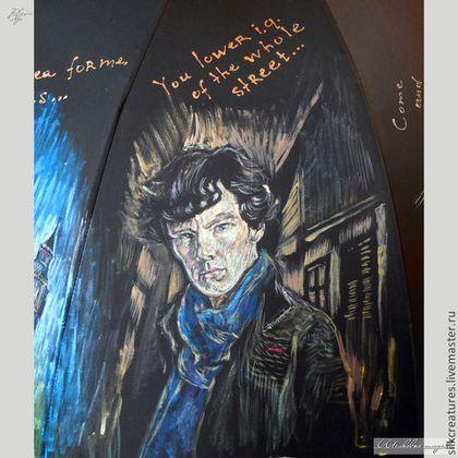 """Зонты ручной работы. Ярмарка Мастеров - ручная работа. Купить """"Шерлок BBC"""" зонт с рисунком ручная роспись по мотивам сериала. Handmade."""