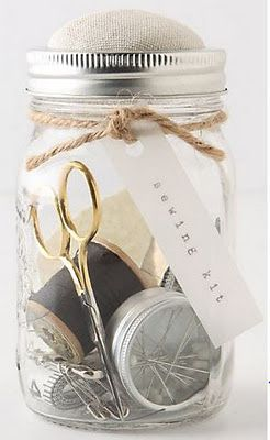 Sewing kit inspiration from Antropologie - Mason Jar links on Pious Sodality of Church Ladies
