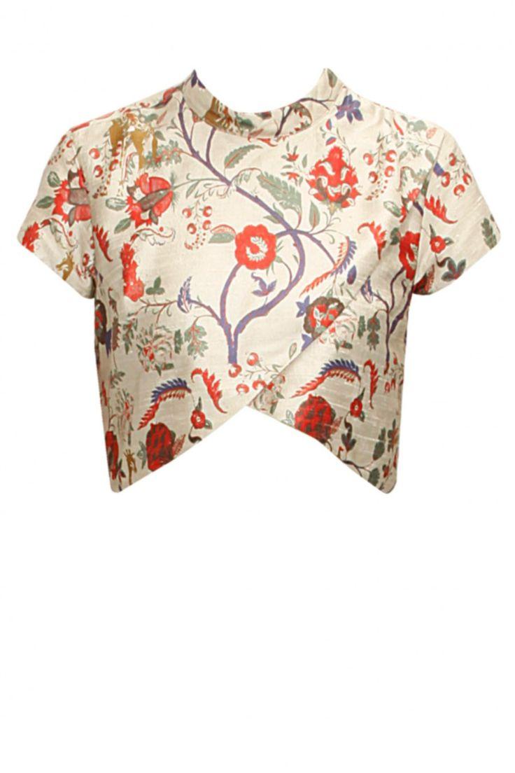 Latest asymmetric floral silk high-neck and mandarin-collar half-sleeve crop-tops  online
