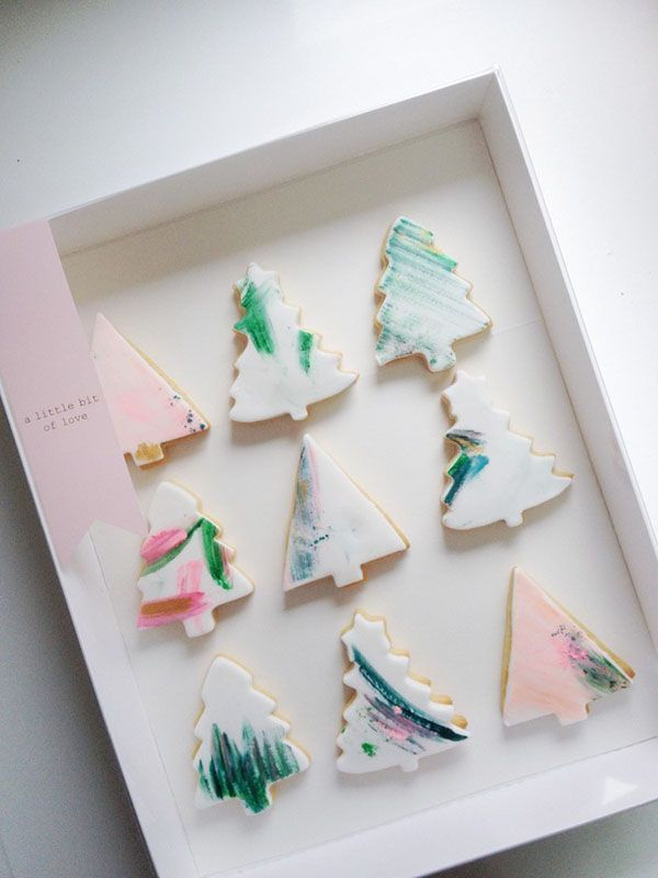 Christmas tree cookies + painted + fondant + watercolor