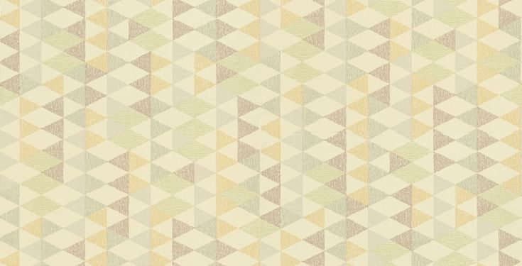 Box (0280BOLIMEZ) - Little Greene Wallpapers - A 60's geometric design with diamond shapes giving a fun box 3D effect. Shown in the Lime colourway with fresh green, blues and yellows. Please request a sample for true colour match.