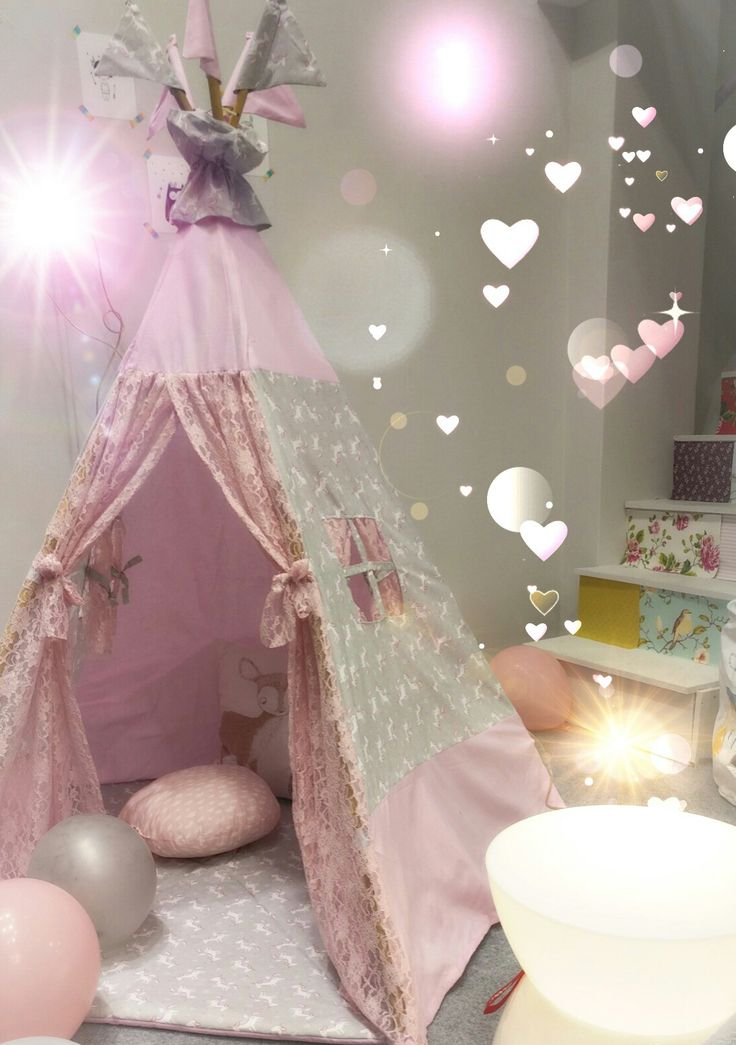 """""""Unicorn lace"""" teepee in pink and grey by teepeelicious"""