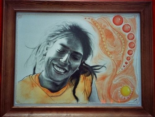 "Contemporary Drawing - ""Marco/Orange"" (Original Art from Emese Cuth)"
