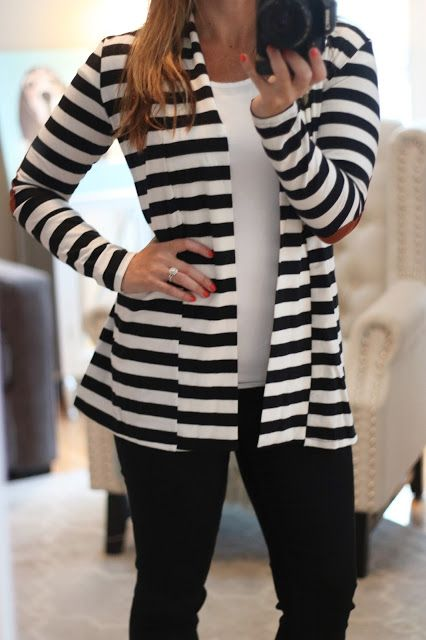 My August Stitch Fix For Less! Elbow patch striped cardigan