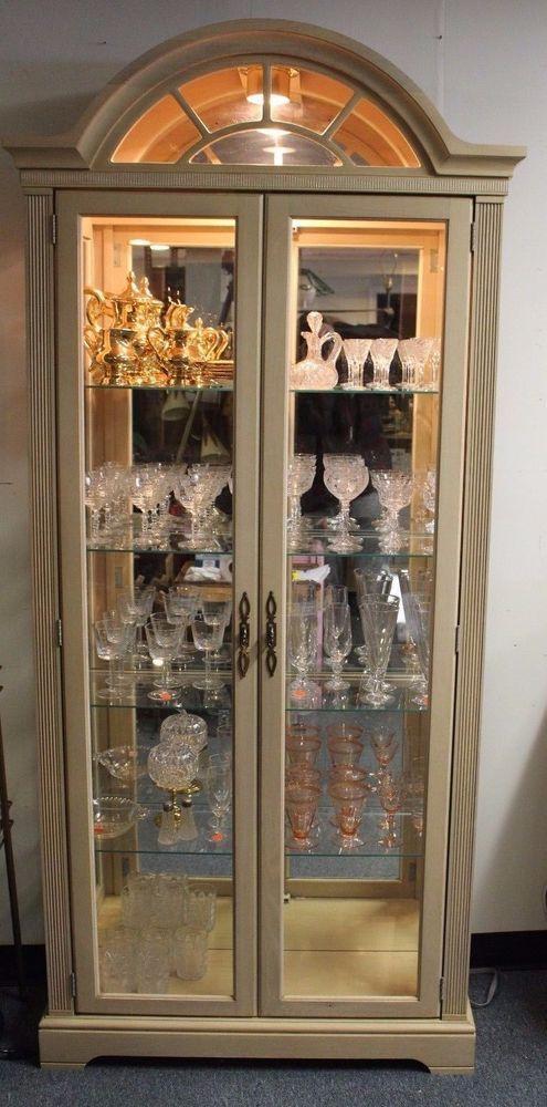 "Vintage Philip Reinisch Lighted Oak Arch Top Curio Cabinet $869 Retail 36"" x 80"""