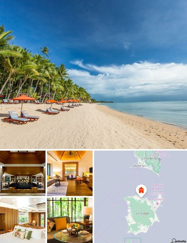 This resort is located on 23 acres of beachfront property on the sandy Maenam Beach. There are links to the public transport network directly opposite the establishment. The nighttime entertainment area and the nearest shops are at Chaweng Beach, which is only 30 minutes by car from the resort. Koh Samui Airport is just 10 km away.