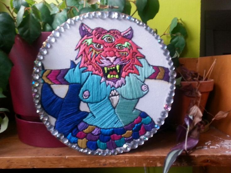 Embroidered tiger mermaid by Pickles LaVey