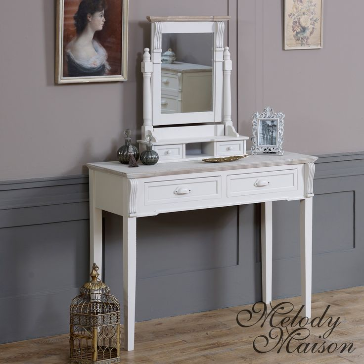 Cream Dressing Table and Mirror Set - Lyon Range Comes with table and swing mirror Made from Wood with a cream finish with distressing Two drawers for storage to the table and two small trinket drawers to the mirror We are also selling many matching items in this range