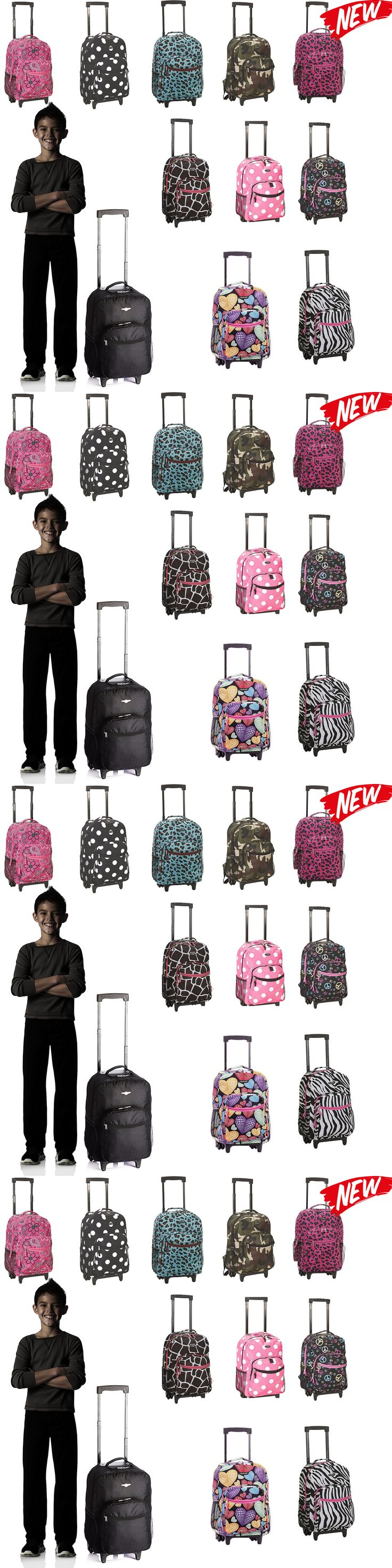 Luggage 16080: 17 Inch Rolling Backpack Rockland Luggage Double Wheels Pocket Travel 18 Colors -> BUY IT NOW ONLY: $34.4 on eBay!