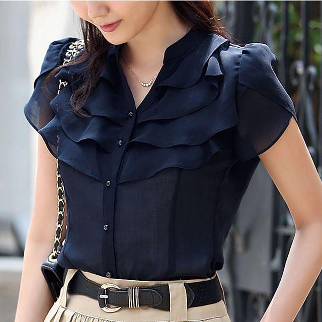 Verão manga borboleta babados gola mulheres Chiffon tamanho S-2XL coreano moda Lady solto blusa branco / azul