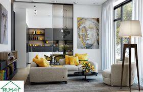 25 Kumpulan Denah Model Desain Gambar Ruang Tamu Minimalis Warna Cat Kuning