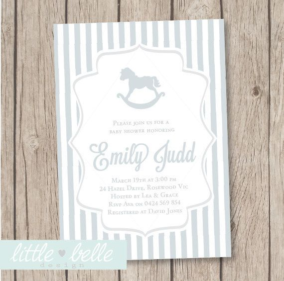 Rocking Horse Baby Shower Invitation on Etsy, $9.27