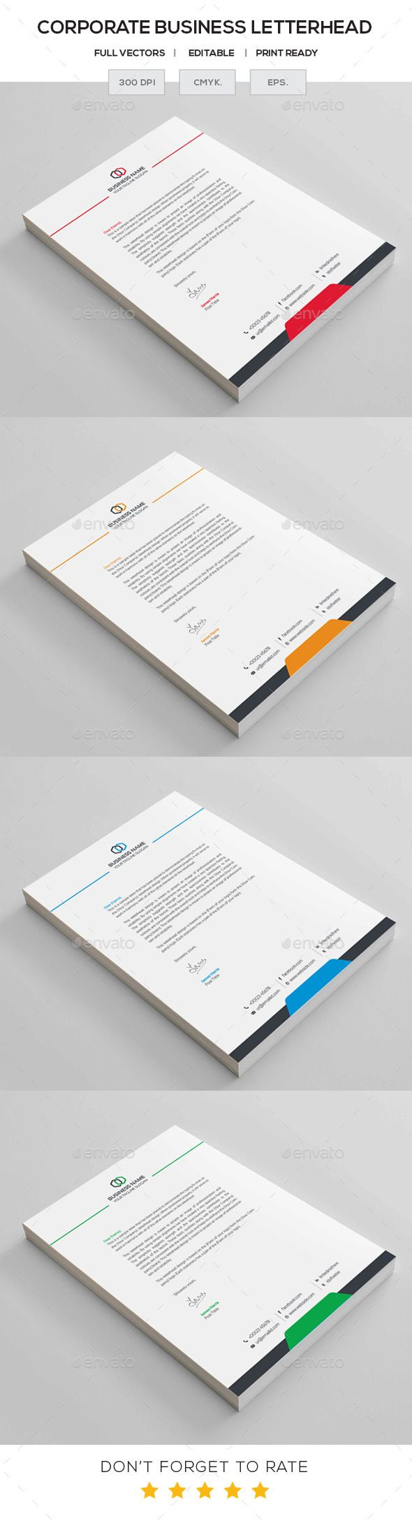 #Business #Letterhead - #Stationery Print Templates Download here: https://graphicriver.net/item/business-letterhead/11313969?ref=artgallery8